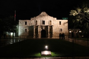 The Alamo at night in San Antonio, Texas